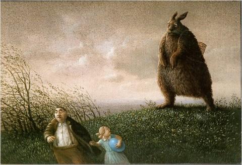 Frohe Ostern - Riesenosterhase verfolgt flüchtenden Vater und Tochter