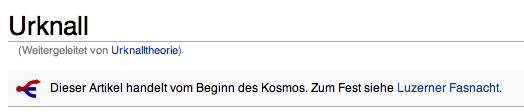 Dieser Artikel handelt von der Entstehung des Kosmos. Zum Fest siehe Luzerner Fastnacht.